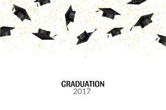 Absolwent nakrętki i złociści confetti na białym tle Edukaci ceremonii uniwersyteta kapeluszowy osiągnięcie ilustracja wektor