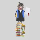 Absolwenta z powrotem chłopiec z dyplomu papierem na górze książki ilustracja wektor