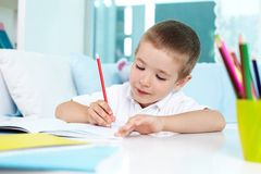 Absorbed in drawing Royalty Free Stock Photo