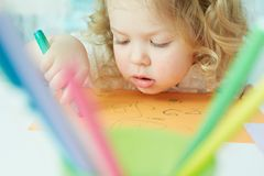 Absorbed in drawing Royalty Free Stock Image