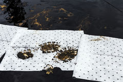 Absorbent paper used for lining oil from  crude oil spilled Royalty Free Stock Image