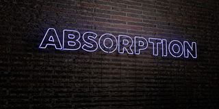 ABSORPTION -Realistic Neon Sign on Brick Wall background - 3D rendered royalty free stock image Stock Photography