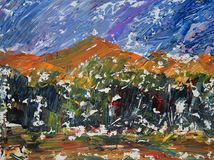 Art abstract paint with acrylic colors. Absract art painting of mountains Stock Image