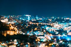 Absract Blurred Bokeh Architectural Urban Backdrop Of Tbilisi, Georgia. Real Blurred Colorful Bokeh Background With. Bilisi, Georgia. Absract Blurred Bokeh royalty free stock photography