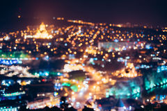 Absract Blurred Bokeh Architectural Urban Backdrop Of Tbilisi, Georgia. Real Blurred Colorful Bokeh Background With Defocused Glowing Lights stock photography