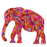 Absract colorful geometric mosaic elephant silhouette,  il Stock Image