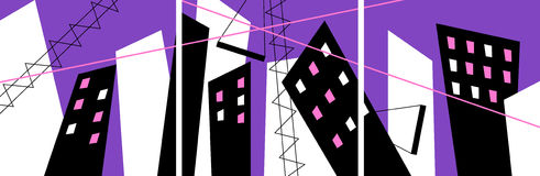 Absract construction triptych. Vector illustration Stock Photos