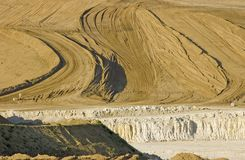 Absract in Earth. Chalk and earth patterns in quarry stock photo