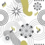 Absract Garden-Geometric Modern Flowers. Abstract Garden-Geometric Modern Flowers and Abstract shapes Seamless Repeat Pattern. Pattern Background. Surface royalty free illustration