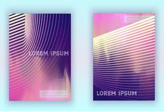 Absract gradient vector geometric cover set. Set of Modern colorful vector geometric leaflet mock up. Futuristic cover promotion design. Vibrant lines royalty free illustration