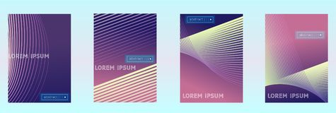 Absract gradient vector geometric cover set. Set of Modern colorful vector geometric leaflet mock up. Futuristic cover promotion design. Vibrant lines and vector illustration