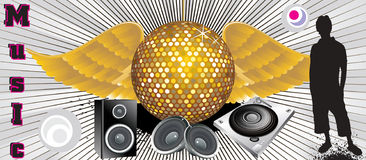 Absract music theme with disco ball & shilloutes Stock Photos