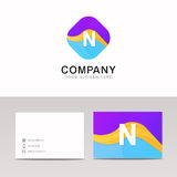 Absract N letter in rhomb logo icon. Fun company logo sign vecto Stock Image