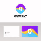 Absract Q letter in rhomb logo icon. Fun company logo sign vecto. Q letter in rhomb logo icon. Fun company logo sign vector design Stock Image