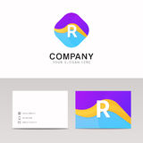 Absract R letter in rhomb logo icon. Fun company logo sign vecto Stock Image