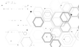 Absract technology and science background. Abstract Hexagonal structures in technology and science style Royalty Free Stock Image