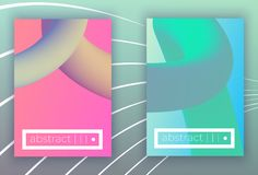 Absract vector geometric cover set. Set of Modern colorful vector geometric leaflet mock up. Futuristic cover promotion design.rose pastel neon green bluecolors stock illustration