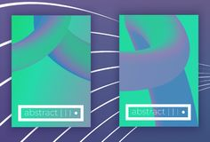 Absract vector geometric cover set. Set of Modern colorful vector geometric leaflet mock up. Futuristic cover promotion design.neon fluid green violet stylish royalty free illustration