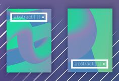 Absract vector geometric cover set. Set of Modern colorful vector geometric leaflet mock up. Futuristic cover promotion design. neon fluid green violet halftone stock illustration