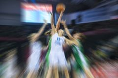 Absract zoom in moving basketball game royalty free stock photography