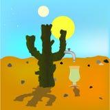 Absraktsiya绿洲海市蜃楼 在龙舌兰酒的沙漠来源的仙人掌 星期日二 蓝色明亮的天空 Vektor例证 免版税库存图片