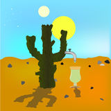 Absraktsiya oasis mirage. Cactus in the desert source of tequila. Two suns. Bright blue sky .Vektor illustration.  stock illustration