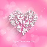 Absrtact Floral Heart Background. Valentine`s Day Card. Trendy Design Template Stock Photo