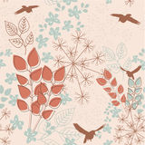 Absrtact garden. Abstract floral seamless pattern with birds Royalty Free Stock Photos