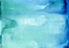 Absrtact soft watercolor backgraund. Hand painted light watercol. Or blue sky and clouds art, turquoise vibrant paper texture Royalty Free Stock Image