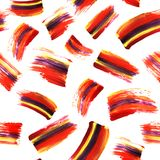 Absrtract art seamless texture with acrilyc brush strokes and blots. Hand painted background. Modern stripes design. Red. Yellow violet color on white royalty free stock images
