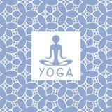 Abstact人蓝色瑜伽演播室设计卡片 图库摄影