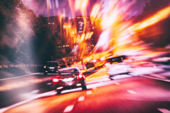 Abstact background with road in night city Royalty Free Stock Images
