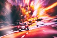 Abstact bakgrund med vägen i nattstad Royaltyfria Bilder
