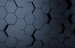 Abstact black futuristic wall. 3d render. Ing stock illustration