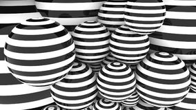 Abstact glossy black and white striped spheres. 3D rendering. Abstact black and white spheres Royalty Free Stock Photos