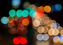 Abstact blur bokeh of Evening traffic jam on road in city.  Stock Photo