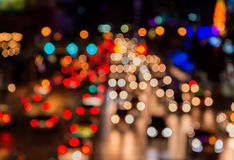 Abstact blur bokeh of Evening traffic jam on road in city.  Stock Images