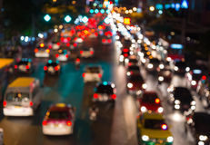 Abstact blur bokeh of Evening traffic jam on road in city Stock Photo