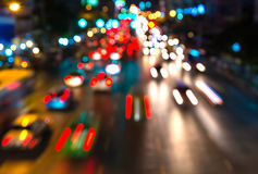 Abstact blur bokeh of Evening traffic jam on road in city.  Stock Image