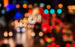 Abstact blur bokeh of Evening trafficjam on road in city Royalty Free Stock Photos