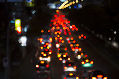 Abstact blur bokeh traffic jam on road in the city.  Stock Photography