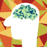 Abstact brain. Abstact polygonal brain.vector.Idea Stock Images