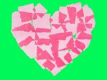 Abstact de papel del corazón aislado en llave verde de la croma de la pantalla Fotografía de archivo