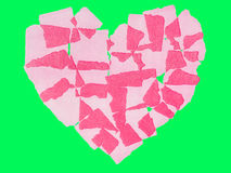 Abstact de papel do coração isolado na chave verde do croma da tela Fotografia de Stock