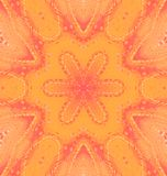 Seamless regular floral pattern orange red centered. Abstact geometric background, seamless star pattern in yellow orange and pastel red shades, ornate and vector illustration