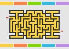 Abstact labyrint modiga ungar Pussel för barn Labyrintgåta sätta på land tidskriften för färgflickaillustrationen som läser den s vektor illustrationer