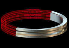 Abstact metal and wireframe ring 3D render. Isolated on the black background Stock Photos