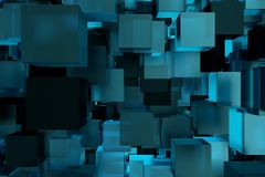 Abstact modern background with cubes. 3d rendering.  royalty free illustration