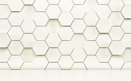 Abstact pokój z białą podłoga i futurystyczną ścianą 3 d czynią royalty ilustracja
