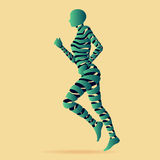 Abstact ribbon shaped with young lady running. Royalty Free Stock Images